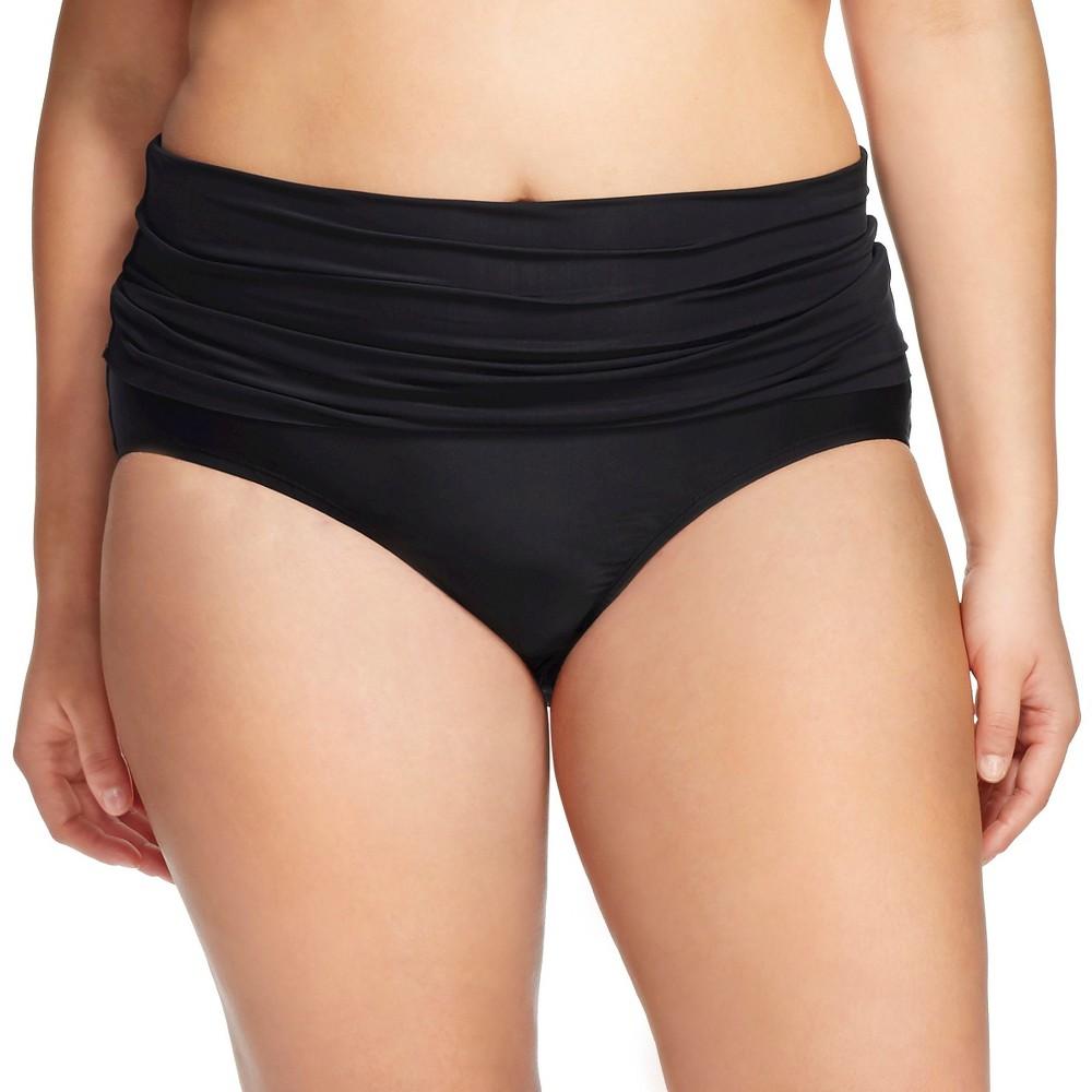 Womens Plus Size Fold Down Swim Bottom - Ava & Viv - Black 14W