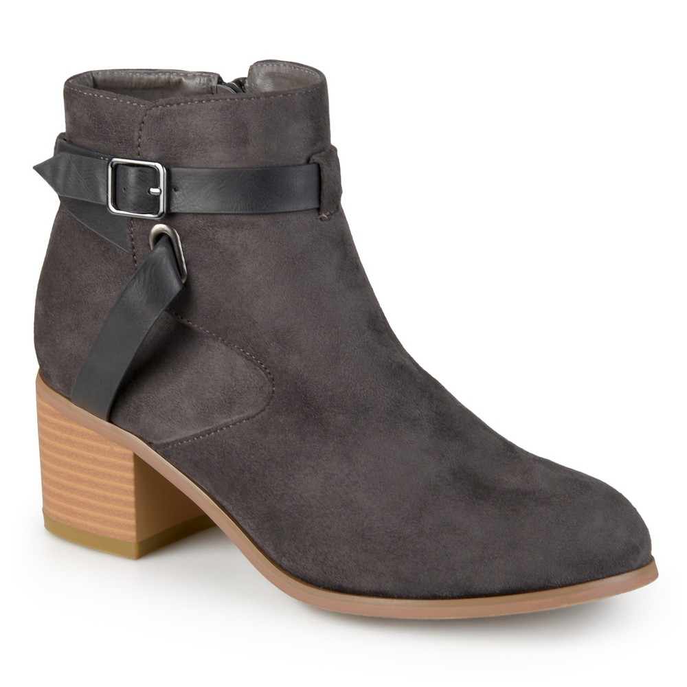Womens Journee Collection Mara Round Toe Two-Tone Booties - Gray 8.5