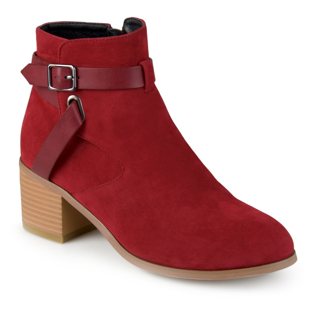 Womens Journee Collection Mara Round Toe Two-Tone Booties - Red 7.5