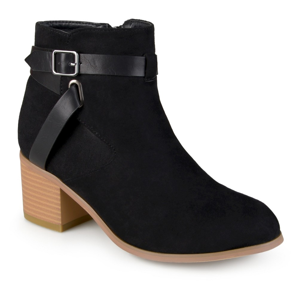 Womens Journee Collection Mara Round Toe Two-Tone Booties - Black 6.5