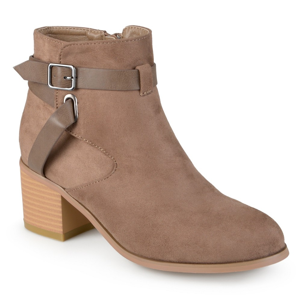Womens Journee Collection Mara Round Toe Two-Tone Booties - Taupe 6.5, Taupe Brown