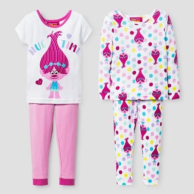 Baby Girls' Trolls® Poppy Snug Fit 4-Piece Cotton Pajama Set - White 12M
