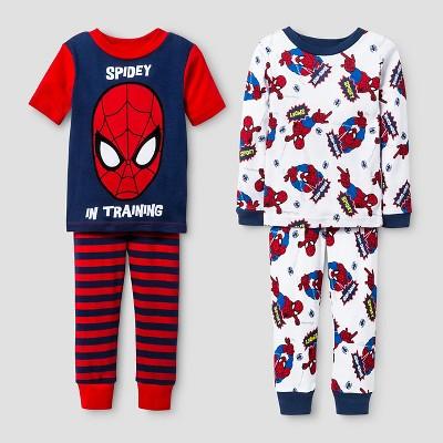 Baby Boys' Spider-Man® Snug Fit 4-Piece Cotton Pajama Set - Red 12M