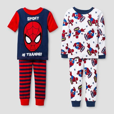 Baby Boys' Spider-Man® Snug Fit 4-Piece Cotton Pajama Set - Red 18M