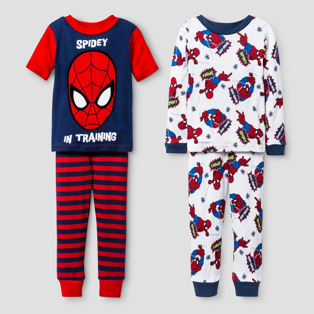 Toddler Boys Spider-Man Snug Fit 4-Piece Cotton Pajama Set - Red 2T