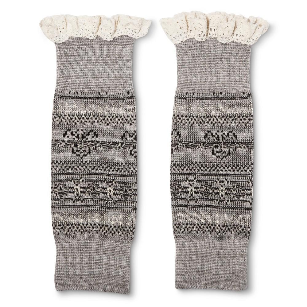 Legale Womens Lace Trim Fairisle Boot Cuff - Gray One Size