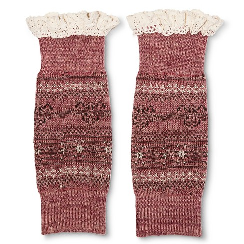 Legale Women's Lace Trim Fairisle Boot Cuff - Wine One Size - image 1 of 2