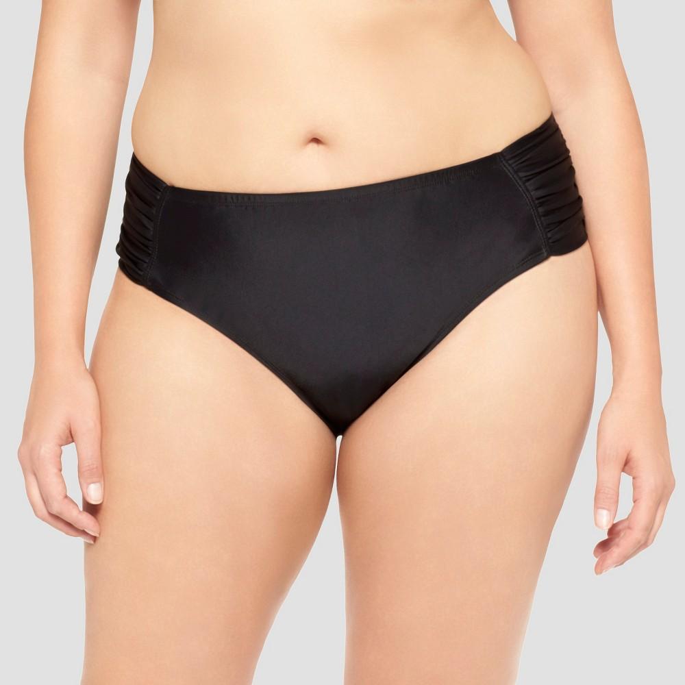 Womens Plus Size Hipster Swim Bottom - Ava & Viv - Black 16W/18W