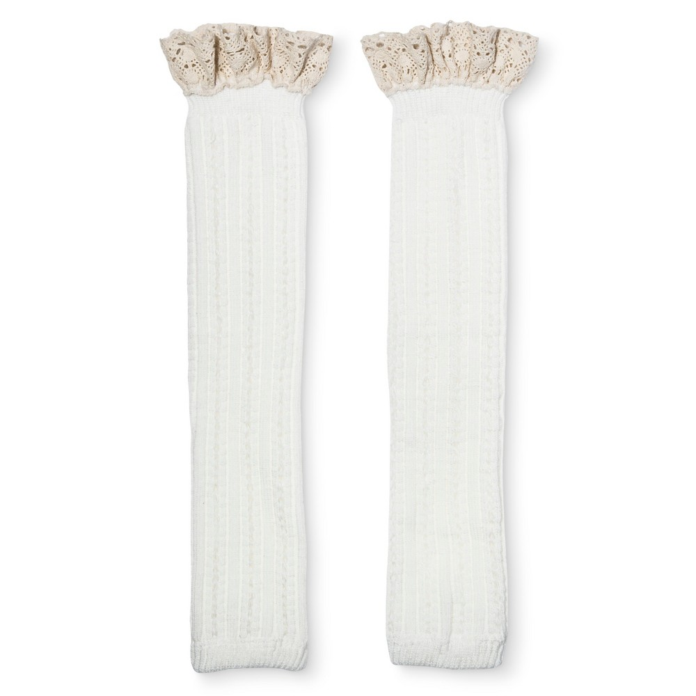 Legale Women's Lace Trim Marled Legwarmer – Ivory Cumin One Size Fits Most