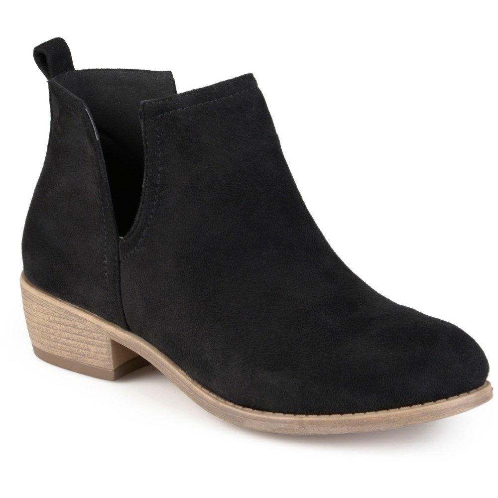 Womens Journee Collection Rimi Round Toe Faux Suede Booties - Black 6