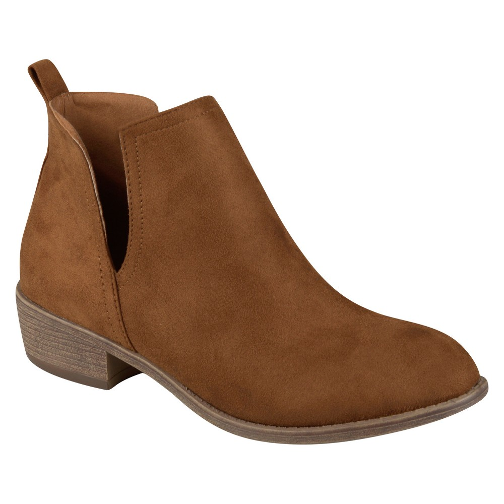 Womens Journee Collection Rimi Round Toe Faux Suede Booties - Camel 7.5