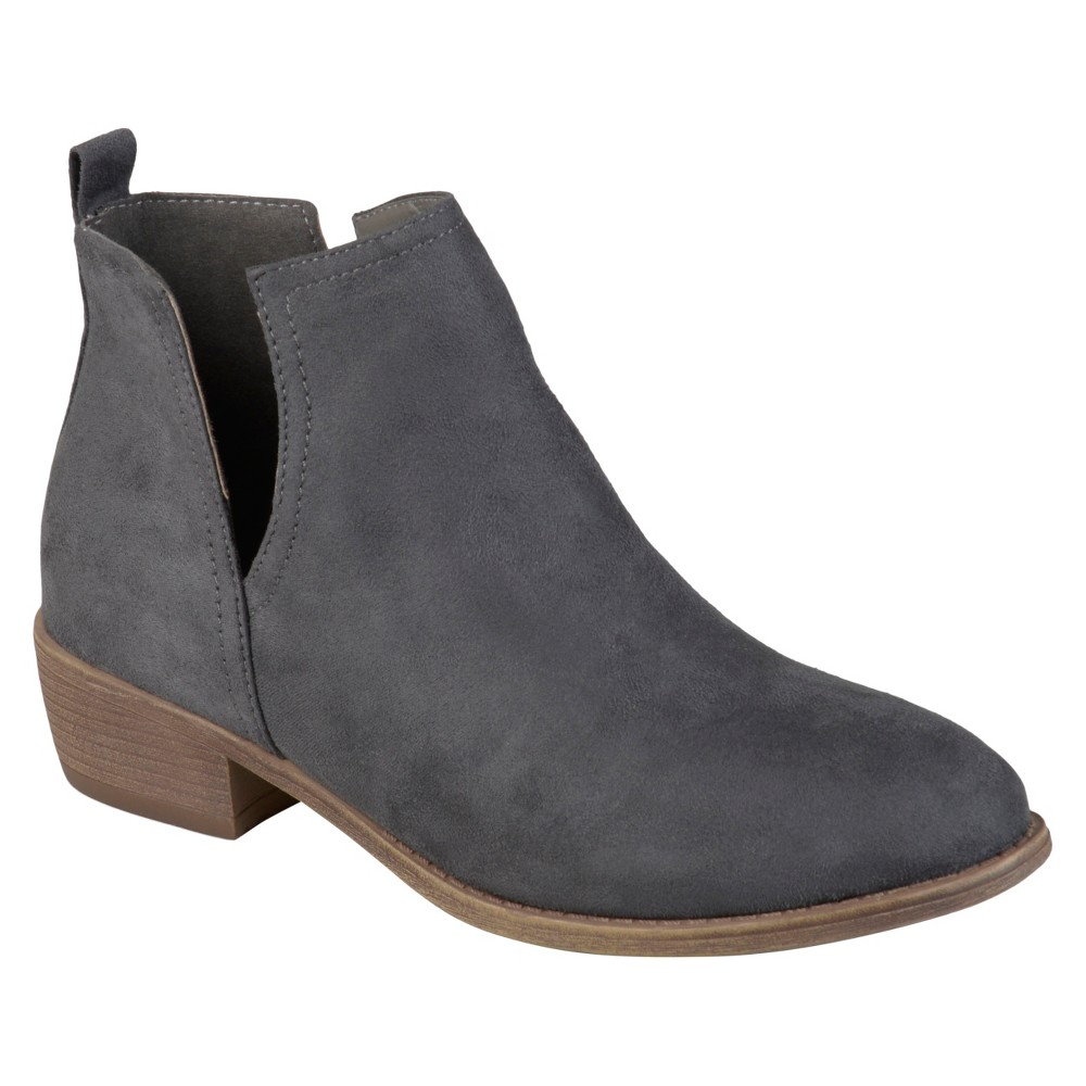 Womens Journee Collection Rimi Round Toe Faux Suede Booties - Gray 6.5