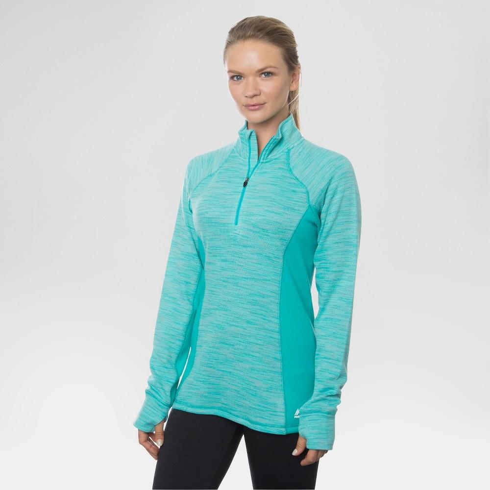 Women's 1/4 Zip Striated Fleece Tee Green Turq XL - Rbx, Turquoise Tint
