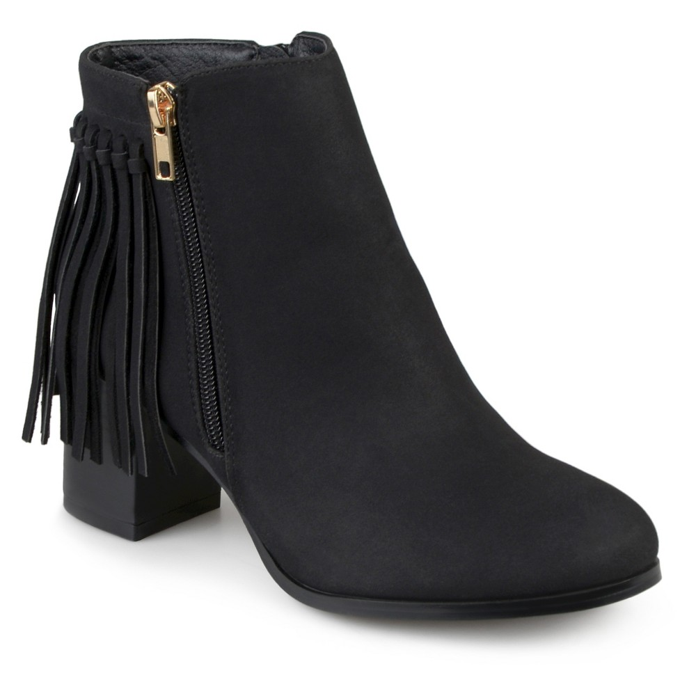 Womens Journee Collection Viv Faux Leather Fringe Booties - Black 10