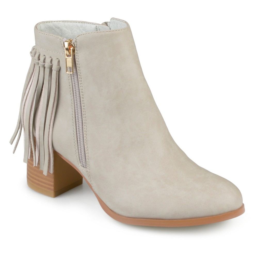 Womens Journee Collection Viv Faux Leather Fringe Booties - Stone (Grey) 7