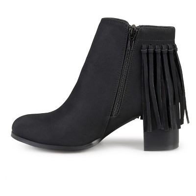 Women's Journee Collection Viv Faux Leather Fringe Booties - Black 7.5