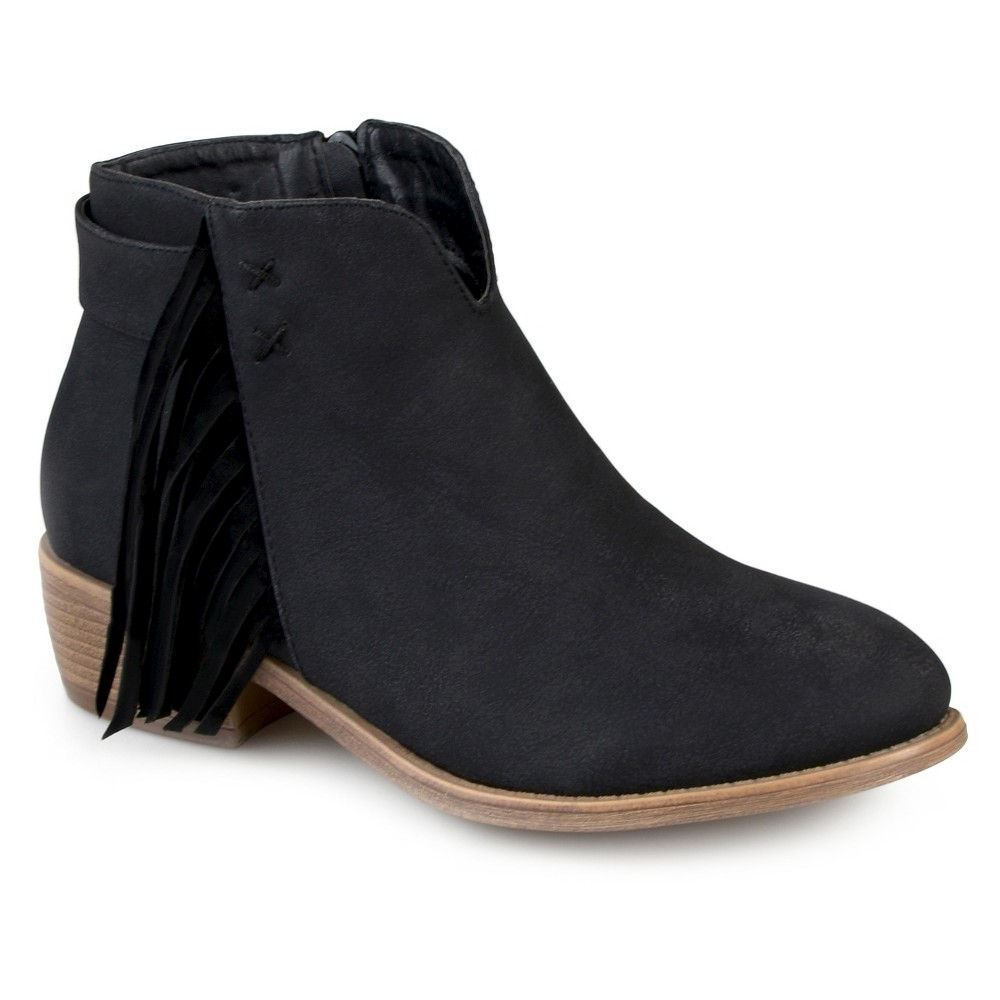 Womens Journee Collection Ansel Faux Leather Fringe Booties - Black 7.5