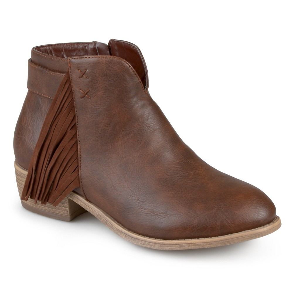Womens Journee Collection Ansel Faux Leather Fringe Booties - Chestnut 10, Brown