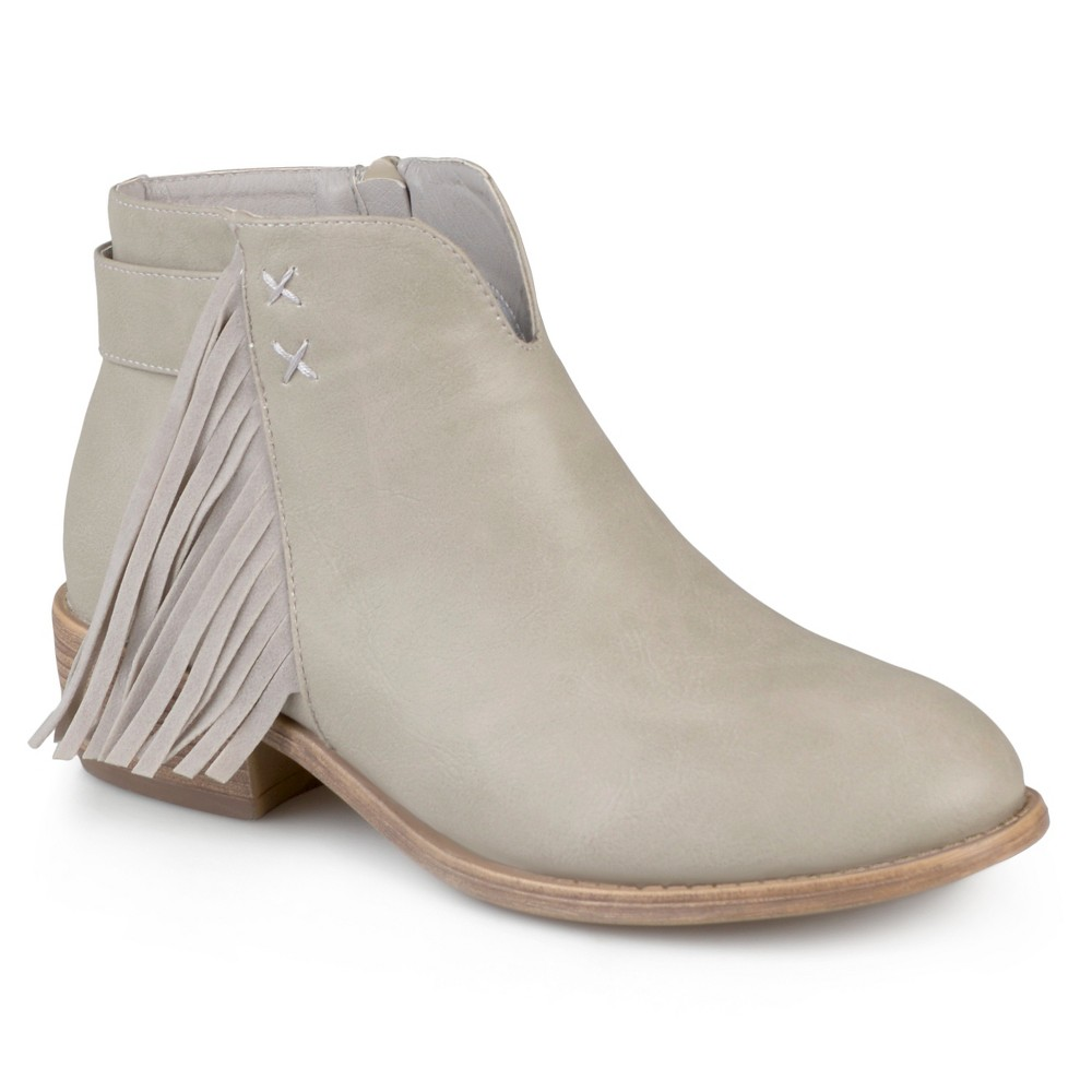 Womens Journee Collection Ansel Faux Leather Fringe Booties - Stone (Grey) 6.5