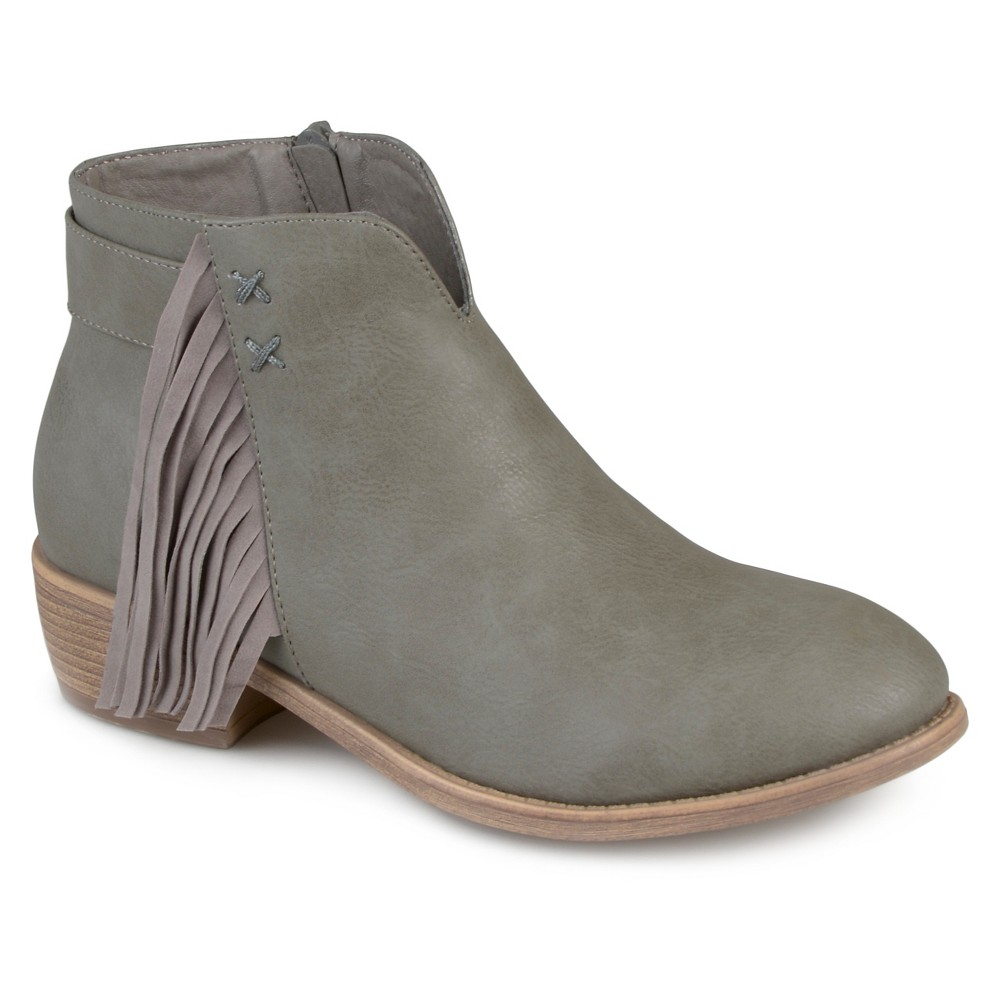 Womens Journee Collection Ansel Faux Leather Fringe Booties - Gray 8.5