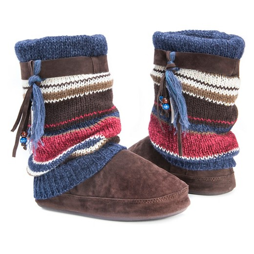 s muk luks 174 stripe knit sweater slipper boots