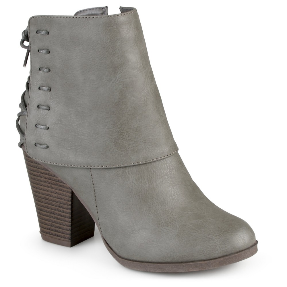 Women's Journee Collection Ayla Corset Lace High Heel Booties - Gray 7