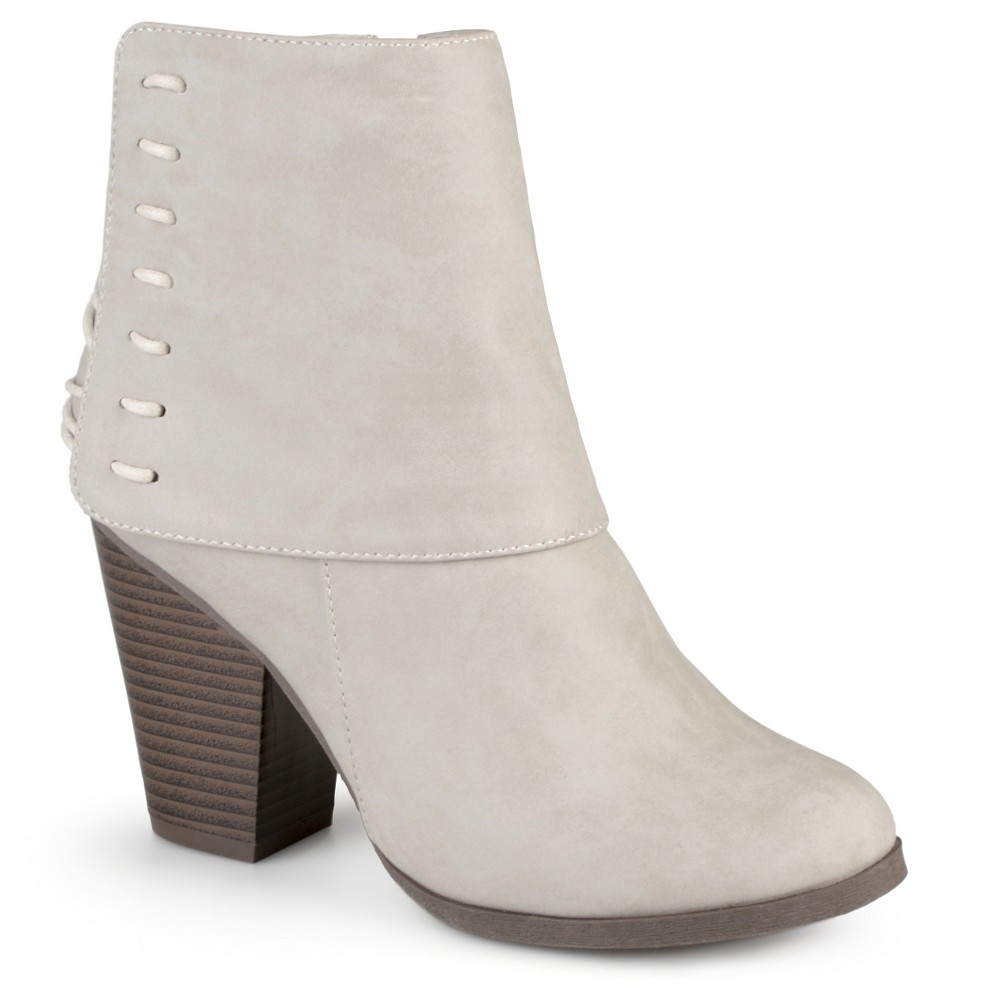 Womens Journee Collection Ayla Corset Lace High Heel Booties - Stone (Grey) 10