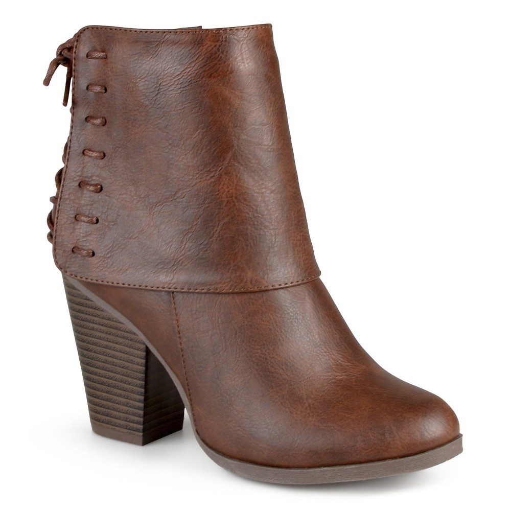 Womens Journee Collection Ayla Corset Lace High Heel Booties - Brown 7