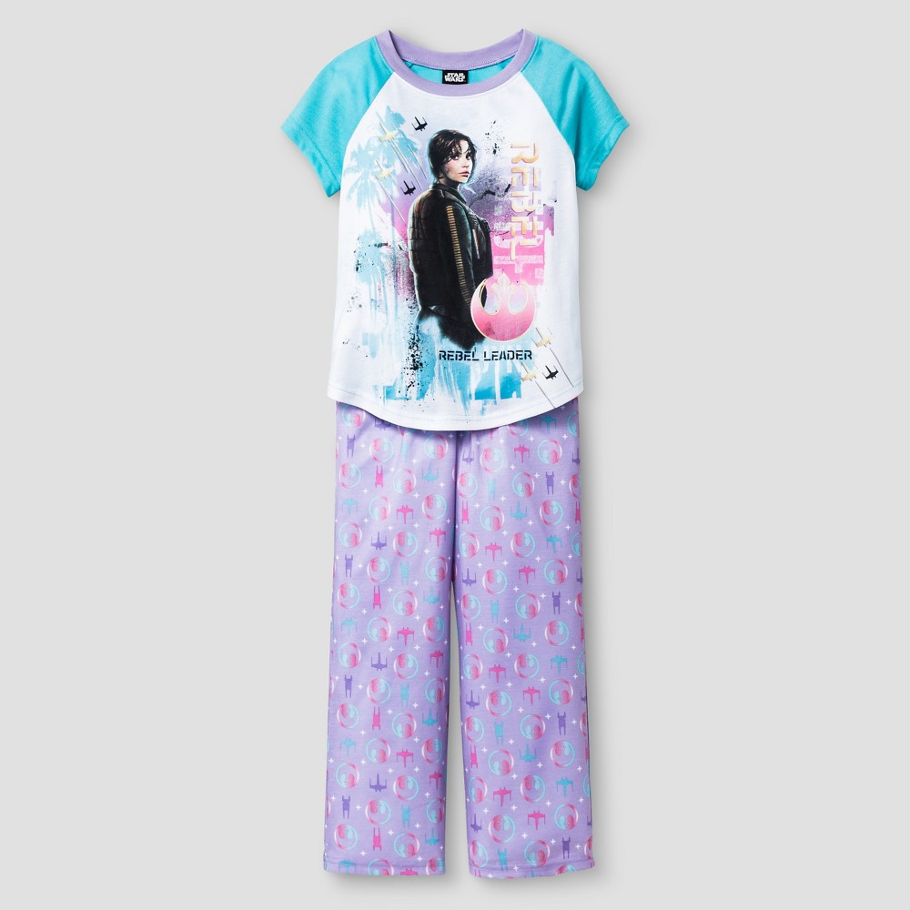 Girls Pajama Set White - Star Wars Rogue One, Size: Medium, Blue White