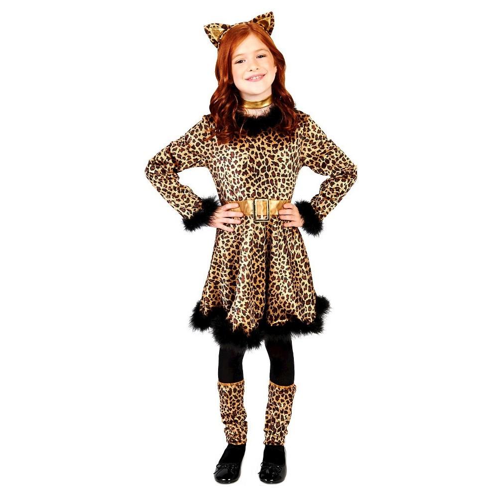 Bold Leopard Dress Childs Costume M(7-8), Girls, Orange