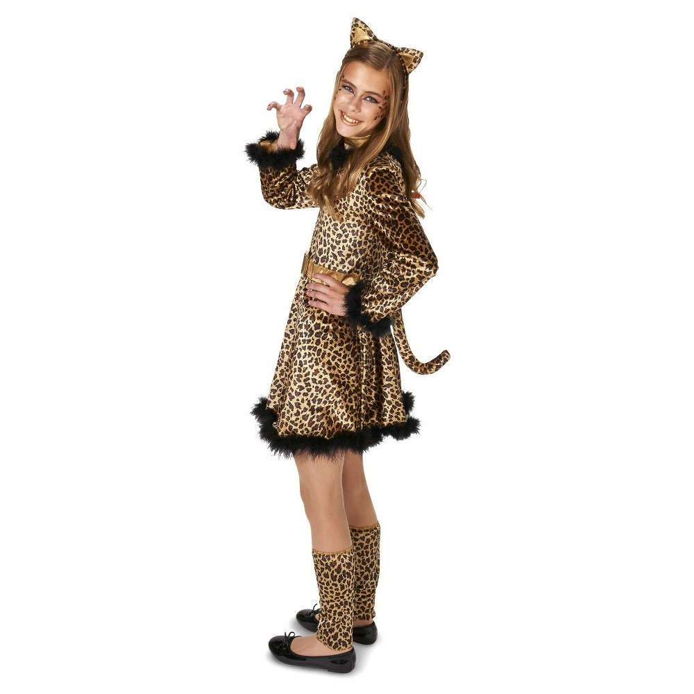 Bold Leopard Dress Tween Costume M(7-8), Girls, Orange