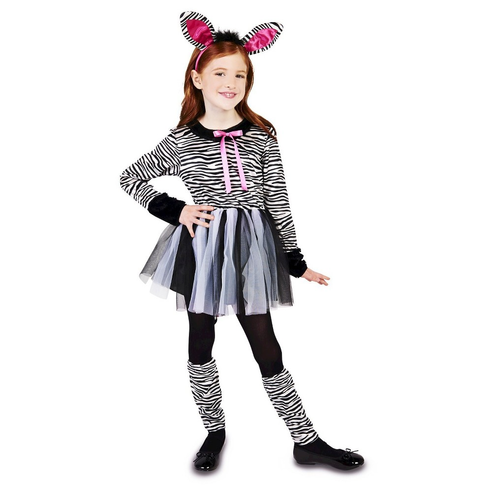 Sweet Zebra Girl Childs Costume - Medium (7-8), Size: M(7-8), Black