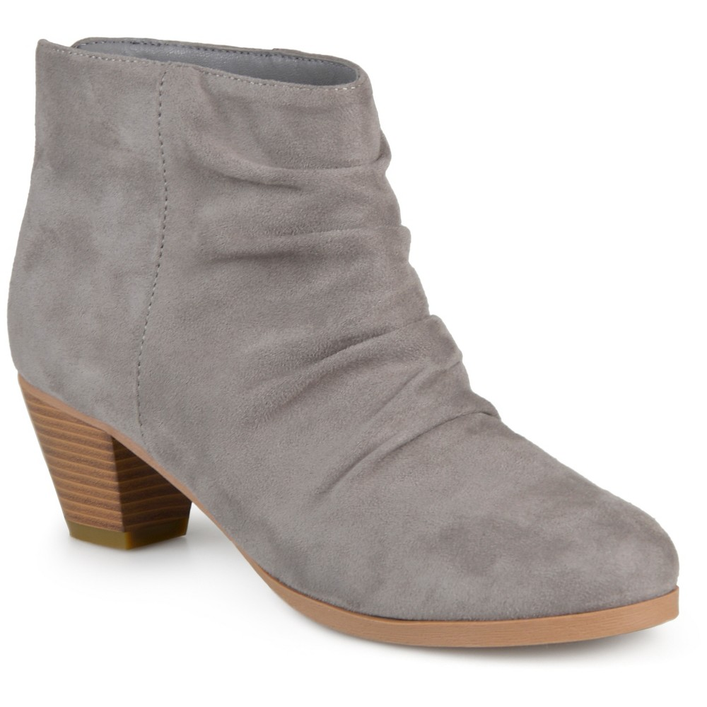 Womens Journee Collection Jemma Slouch Faux Suede Booties - Gray 7.5