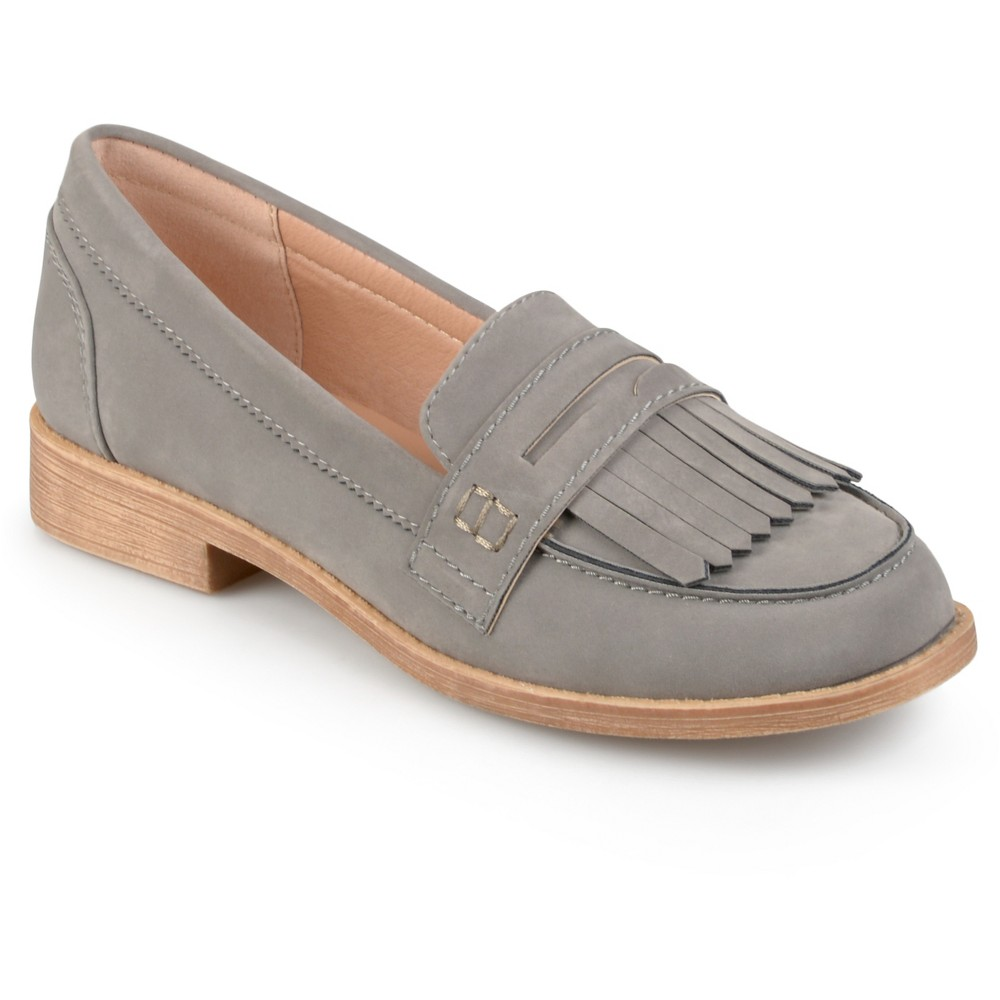 Womens Journee Collection Larue Faux Suede Fringed Loafers - Gray 9