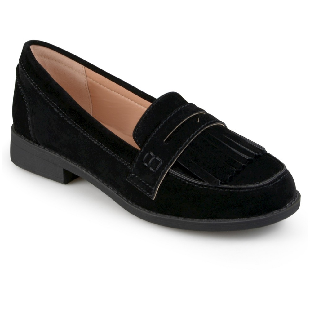 Womens Journee Collection Larue Faux Suede Fringed Loafers - Black 9