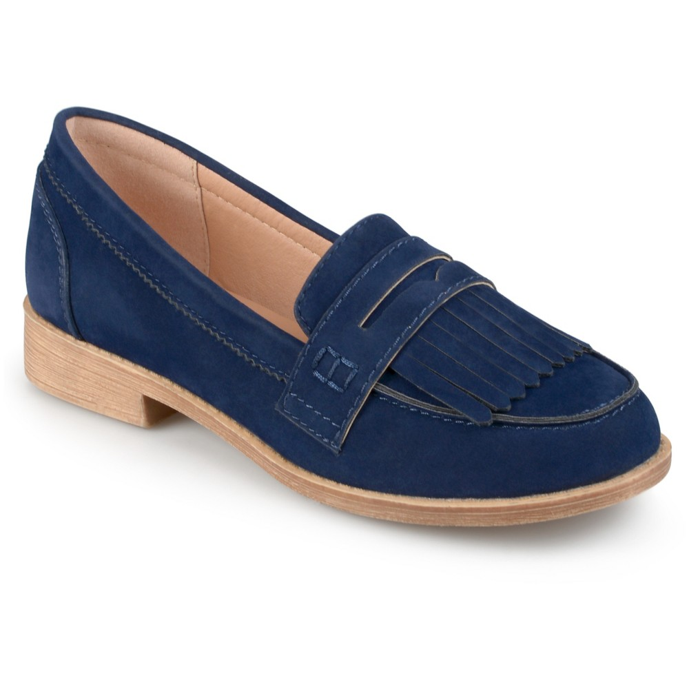 Womens Journee Collection Larue Faux Suede Fringed Loafers - Navy (Blue) 7