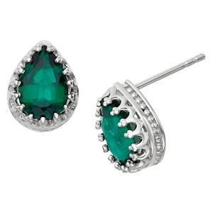 2 2/3 Tcw Tiara Sterling Silver Pear-Cut Emerald Crown Earrings, Women