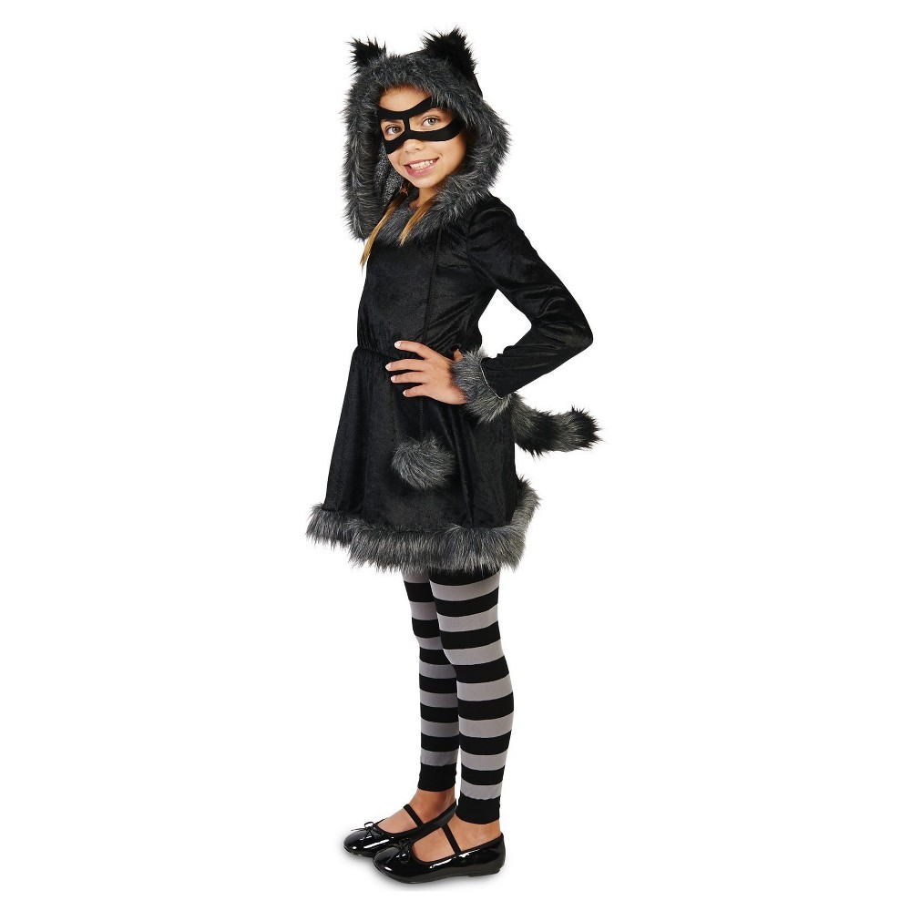 Raccoon Childs Costume M(7-8), Girls, Black