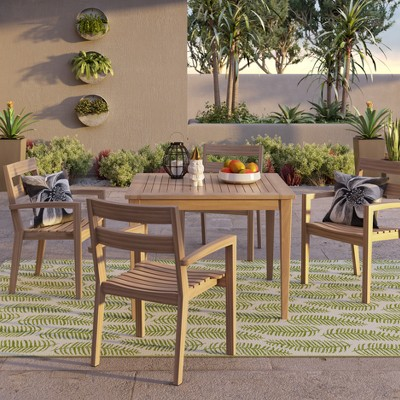 James 4pk Wood Outdoor Patio Dining Chairs   Brown   Threshold™