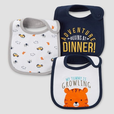 Baby Boys' 3pk Tiger Bib Set - Just One You™ Made by Carter's® Buff White