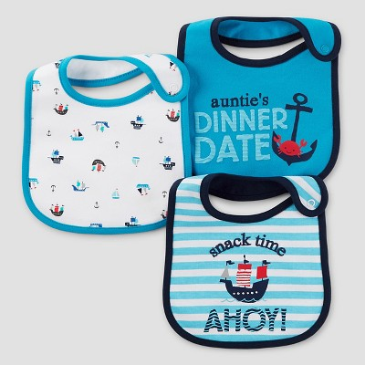 Baby Boys' 3pk Anchor Bib Set - Just One You™ Made by Carter's® Blue