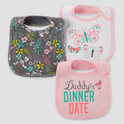 Baby Girls' 3pk Floral Bib Set - Just One You™ Made by Carter's® Iced Rose