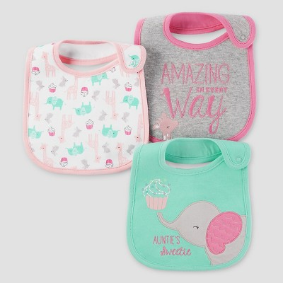 Baby Girls' 3pk Elephant Bib Set - Just One You™ Made by Carter's® Mint