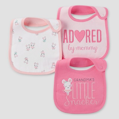 Baby Girls' 3pk Mouse Bib Set - Just One You™ Made by Carter's® Pink