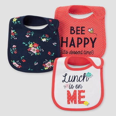 Baby Girls' 3pk Lunch is on Me Bib Set - Just One You™ Made by Carter's® Coral