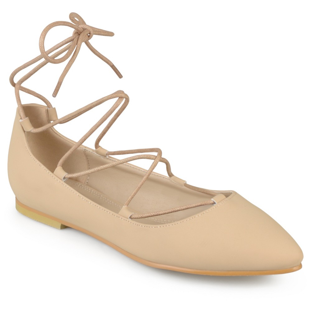 Womens Journee Collection Fiona Lace-up Pointed Toe Ballet Flats - Nude 9