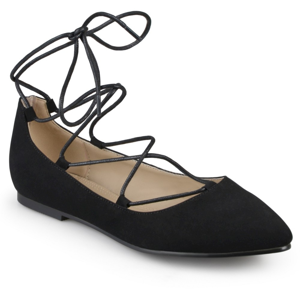 Womens Journee Collection Fiona Lace-up Pointed Toe Ballet Flats - Black 6