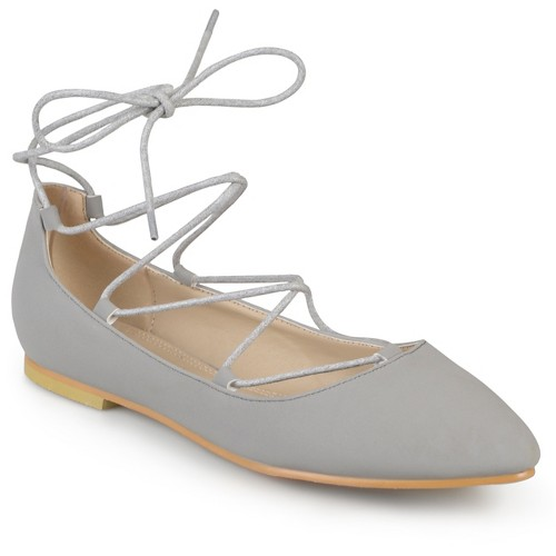 Women's Journee Collection Fiona Lace-up Pointed Toe Ballet Flats - Grey 7