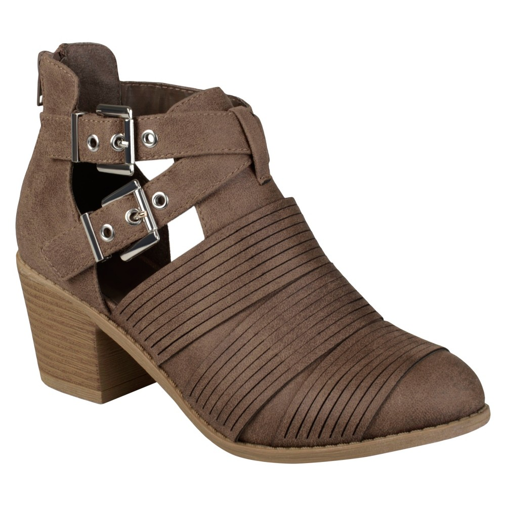 Womens Journee Collection Tiff Faux Leather Cut Out Booties - Brown 7.5