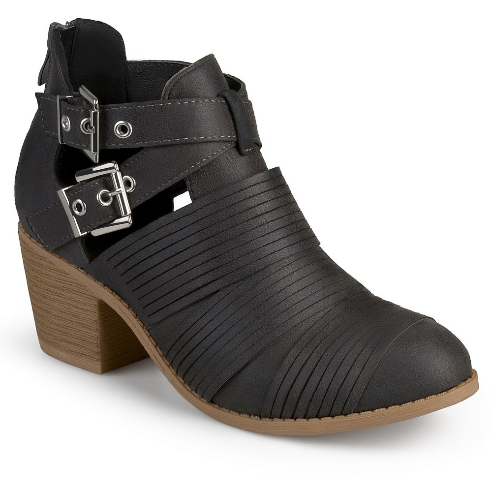 Womens Journee Collection Tiff Faux Leather Cut Out Booties - Gray 6